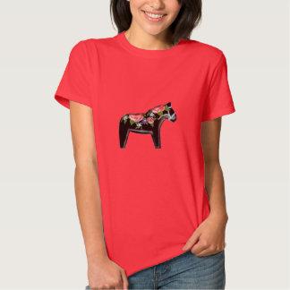 Red Rose Dala Horse Tshirts
