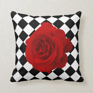 Red Rose on Black and White Diamond Pattern Throw Cushion