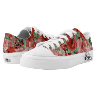 Red Rose Pattern Printed Shoes