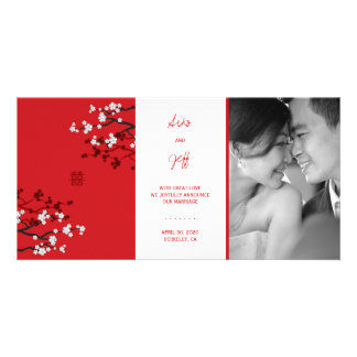 Red Sakura Double Happiness Wedding Announcement Customized Photo Card