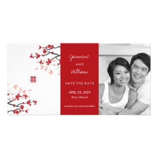 Red Sakuras & Double Happiness Save The Date Personalized Photo Card