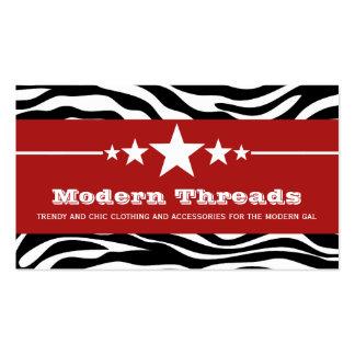 Red Sassy Star Zebra Print Business Card