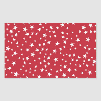 Red Scattered Stars Rectangular Sticker