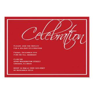 Red script Christmas celebration party invitation