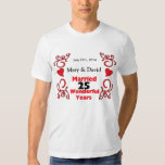 Red Scroll & Hearts Names & Date 25 Yr Anniversary Tee Shirts