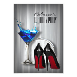 red sole stiletto martini girly birthday party 13 cm x 18 cm invitation card