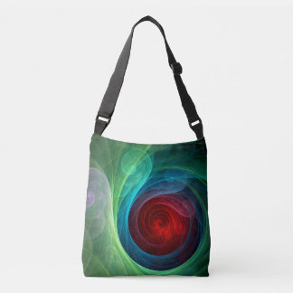 Red Storm Abstract Art Cross Body Tote Bag