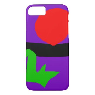 Red Sun Black Horizon Purple Sky Green Lizard iPhone 7 Case