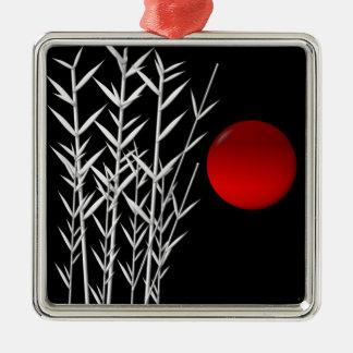 Red sun black white zen Silver-Colored square decoration
