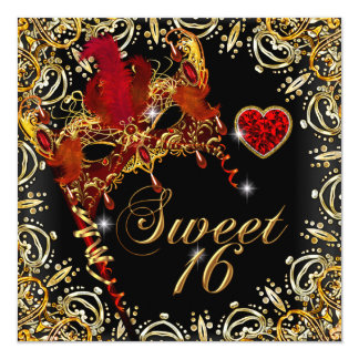 Red Sweet Sixteen Sweet 16 Masquerade Gold 13 Cm X 13 Cm Square Invitation Card
