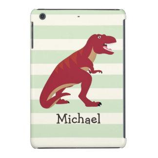 Red T-Rex on Pastel Green Stripes iPad Mini Retina Case