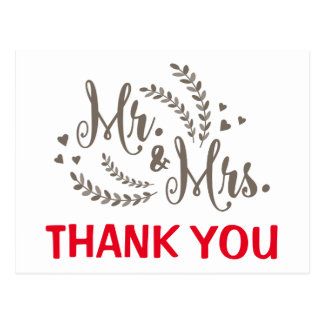 Red Thank You Floral Fern & Hearts Gray Wedding Postcard