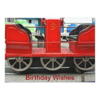 Red Train Carriage Birthday Wishes Card 13 Cm X 18 Cm Invitation Card