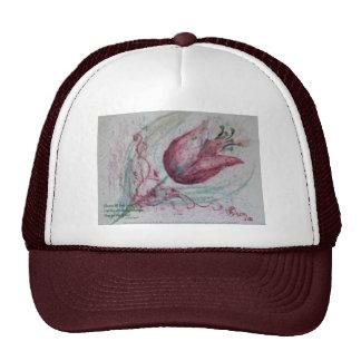 red tulip with haiku cap