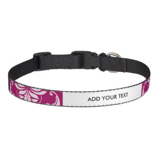 Red-Violet White Classic Damask Pattern Pet Collars