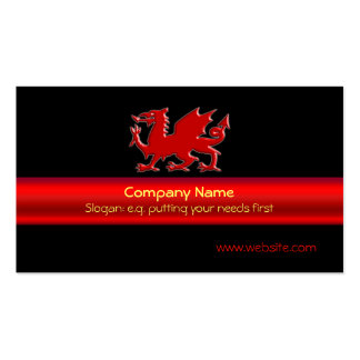 Red Welsh Dragon on black, red metallic-look strip Pack Of Standard Business Cards