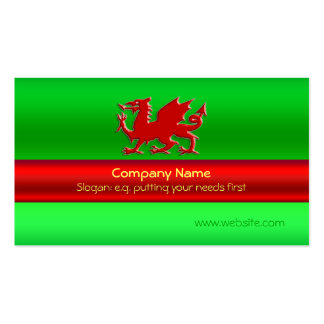 Red Welsh Dragon on green metallic-look Pack Of Standard Business Cards