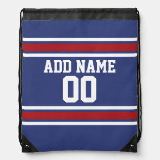 Red White Blue Sports Jersey Custom Name Number Rucksack