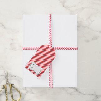 Red White Diagonal Stripes Holiday Gift Tag