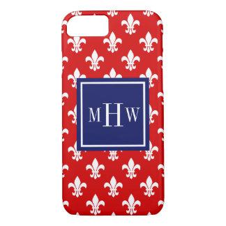 Red White Fleur de Lis Navy Sq 3 Initial Monogram iPhone 7 Case