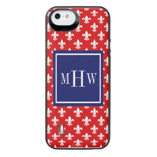 Red White Fleur de Lis Navy Sq 3 Initial Monogram iPhone SE/5/5s Battery Case