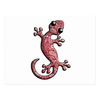 Red White Paisly Climbing Gecko Lizard Postcard