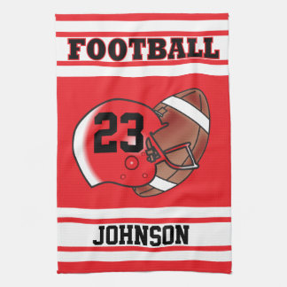 Red & White Stripe Football Jersey Tea Towel