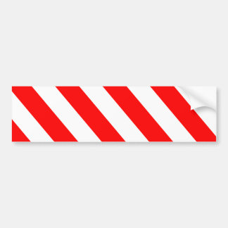 Red White Warning Stripes Bumper Sticker