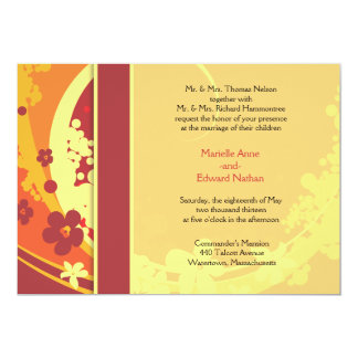 Red & Yellow Floral Wedding Invite
