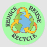 Reduce Reuse Recycle Round Sticker