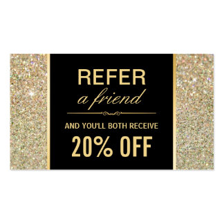 Referral Card Funky Gold Glitter Beauty Salon Pack Of Standard Business Cards