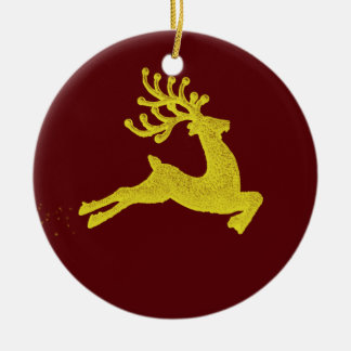 Reindeer decoration round ceramic decoration