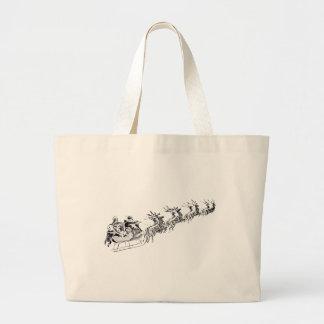 Reindeer Pulling Santa's Sleigh. Jumbo Tote Bag