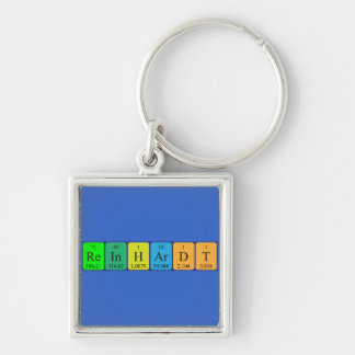 Reinhardt periodic table name keyring Silver-Colored square key ring