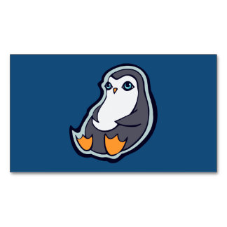 Relaxing Penguin Sweet Big Eyes Ink Drawing Design Magnetic Business Cards