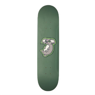 Relaxing Smile Gray Koala Green Drawing Design Skate Boards