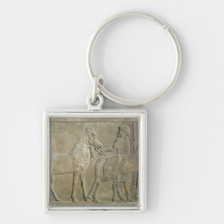 Relief depicting the tributaries of Sargon II Silver-Colored Square Key Ring