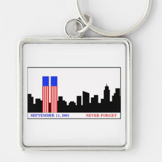 Remember 9-11-01 Silver-Colored square key ring