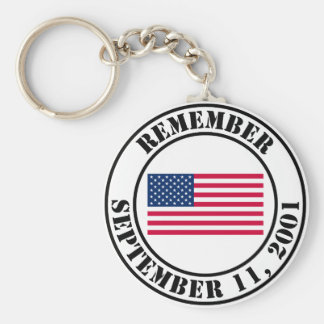 Remember 9/11 basic round button key ring