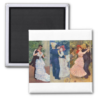 Renoir - Dance in the City, Country, and Bougival Square Magnet