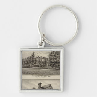 Residences of JR Fisher and MP Simpson, Kansas Silver-Colored Square Key Ring