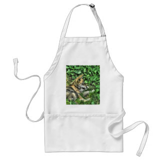 Resting Baby Wolf Pup Wildlife Photo Standard Apron