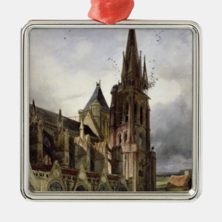 Restoring the Abbey Church of St. Denis in 1833 Silver-Colored Square Decoration