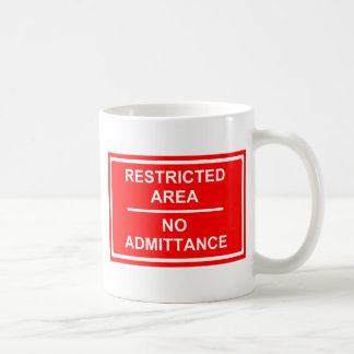 Restricted Area No Admittance Basic White Mug