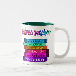 Retired Teacher Gifts Stack of Books Design Two-Tone Mug