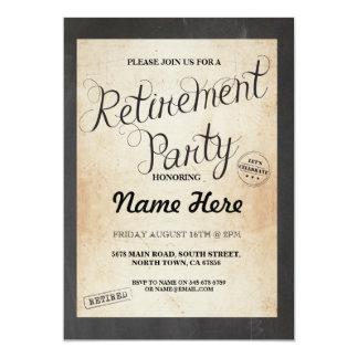 Retirement Party Chalk Retired Vintage Invitation
