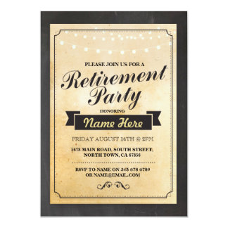 Retirement Party Rustic Retired Lights Invitation