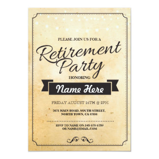 Retirement Party Vintage Retired Paper Invitation
