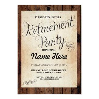 Retirement Party Wood Rustic Retire Vintage Invite