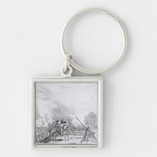 Retreat from the Battle of Worcester Silver-Colored Square Key Ring